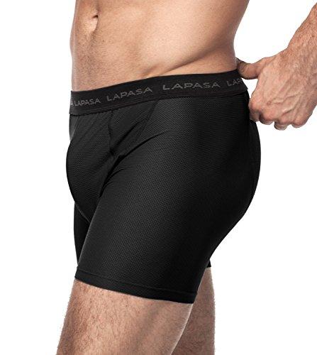 Lapasa Herren Unterwäsche, 2er Pack Herren Performance Unterwäsche, Herren Funktionsunterwäsche, Herren Sport Shorts - M016, L, Schwarz - 3