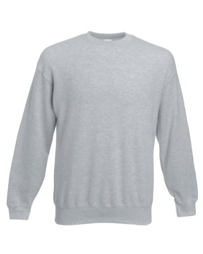 Gr M Heather Grey Fruit of the Loom Classic Pullover Herren Sweatshirt Fruit Of The Loom Classic Sweatshirt