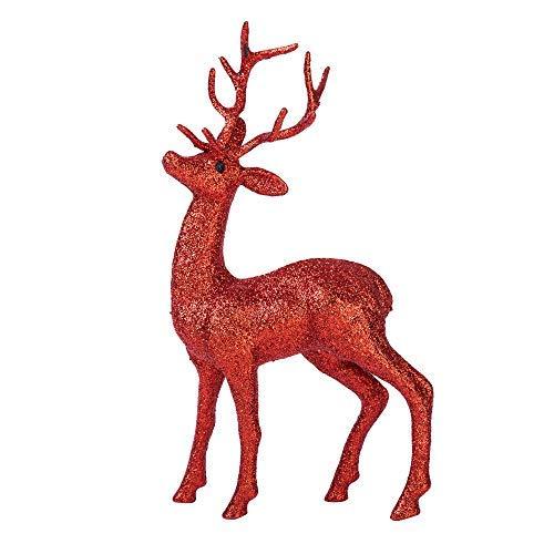 Elegante glitzernde 3D-Rentier-Tischdekoration für den Urlaub, Weihnachten, rote Tiere, Dekorationen, Figuren, Skulptur, Tischdekoration, Urlaub, Weihnachten, Glitzer, 27,9 x 16 cm