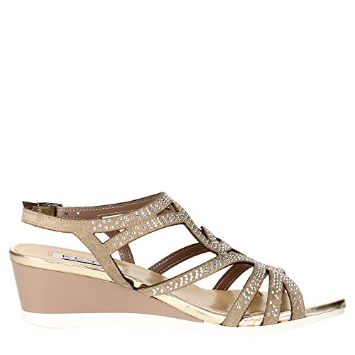 TOUCHES 5436 taupe chaussures bracelet femme sandale zeppetta strass Grigio