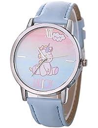 Reloj de Metal para Infantil - Reloj de Cuarzo Correa Cuero Forma de Unicornio