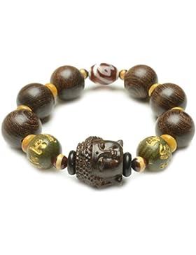 Buddhist Kopf Mala Gebet 18mm Holzperlenarmband -Fortune buddhistischen Schmuck