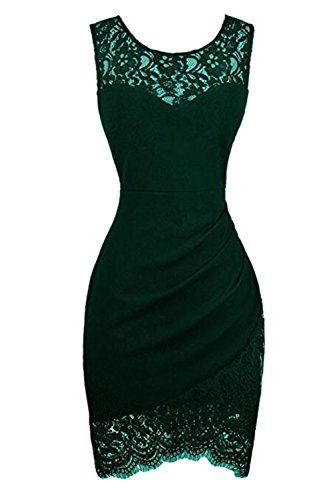 YACUN Le Donne Cocktail Party Mini Lace Senza Maniche Bodycon Lavoro Vestito Green