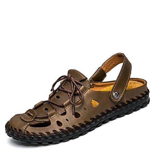 Frühling Sommer Herren Sandalen Indoor Outdoor Leder Strand Sandalen Pantoffeln Flache Hausschuhe Braun