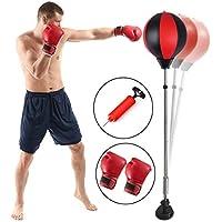 Qdreclod Punching Ball, Saco de Boxeo de pie, Bola de Velocidad con Guantes Tubo Inflable Set de Boxeo Pelota para Adultos Niños