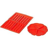 AmazonBasics - Juego de moldes de silicona para gofres, diseño rectangular y redondo