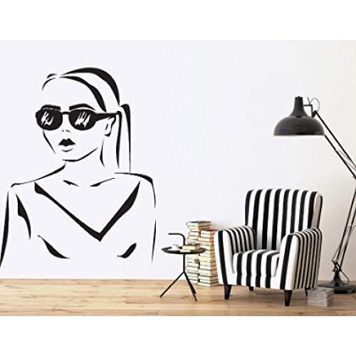 Wand Vinyl Aufkleber Decal Silhouette schöne Mädchen Frisur Sonnenbrille 57x84cm