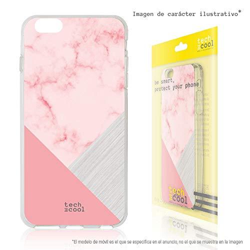 Funnytech® Funda Silicona para BQ Aquaris M5 [Gel Silicona Flexible, Diseño Exclusivo] Textura marmol Rosa Combinado