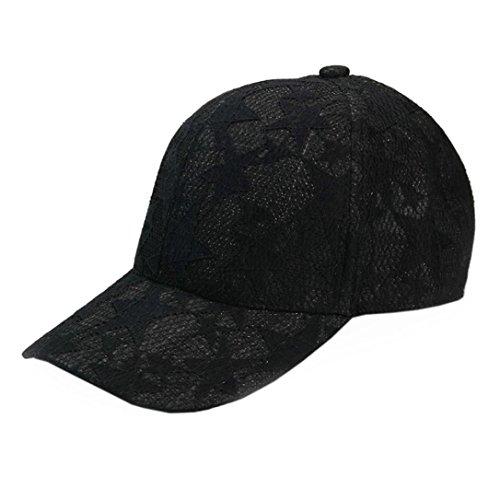 Rawdah Unisex Hombres Mujeres Gorra de béisbol deporte sol adjustable Hat (Negro)