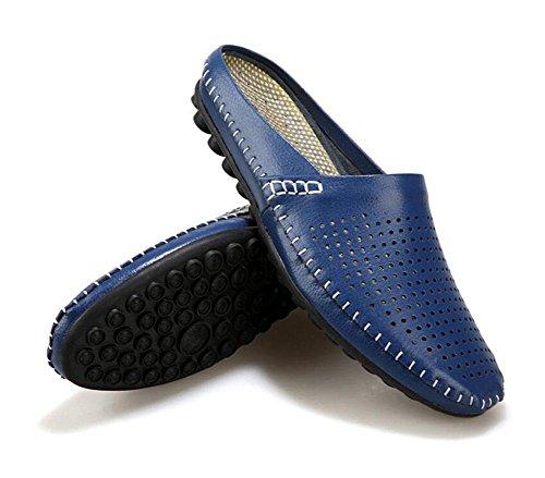 Men Open Back Slippers Sommer Casual Schuhe Erbsen Schuhe Leder Kopf Soft Leder Cool Slippers Lazy Halbe Hausschuhe Blue