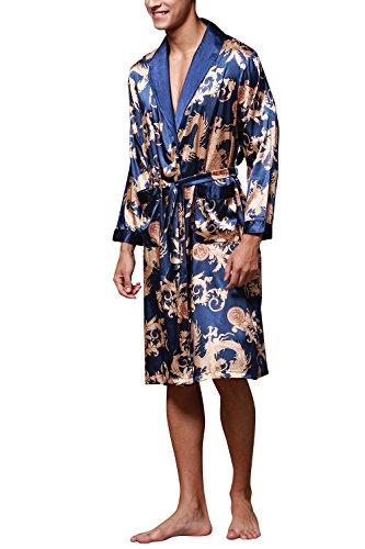 Dolamen Herren Morgenmantel Bademäntel Kimono, Weich u. Leicht glatte Luxus Satin Nachtwäsche Bademantel Robe Negligee locker Schlafanzug mit Belt & Pockets Blau