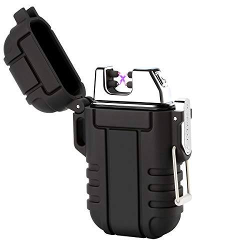Qimaoo USB Feuerzeug Elektro Feuerzeug Lichtbogen Feuerzeug Wasserdicht/Winddicht/Aufladbar/Lange Lebensdauer Plasma Feuerzeug mit Kreuz Doppelt lichtbogen