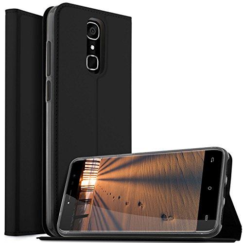 KUGI Cubot X18 Hülle, Cubot X18 Flip Bookstyle Kompletter Schutz Mit Magnetverschluss und Standfunktion Tasche Etui Cover Case Schutzhülle für Cubot X18 Smartphone (Schwarz)