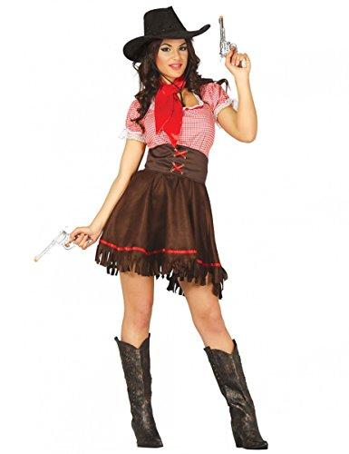 Viscio Trading Western-Cowgirl Damenkostüm braun-rot XS/S (36-38)