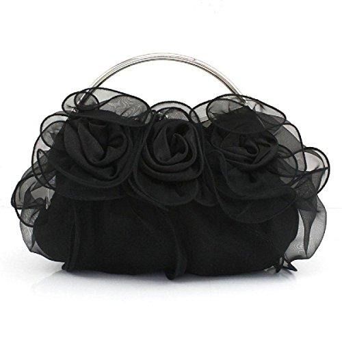 Femmina Classico Fiore Borsa Festa Borsa Da Sposa Borsa Di Pizzo Moda Borsa Da Sera Casual Elegante Black