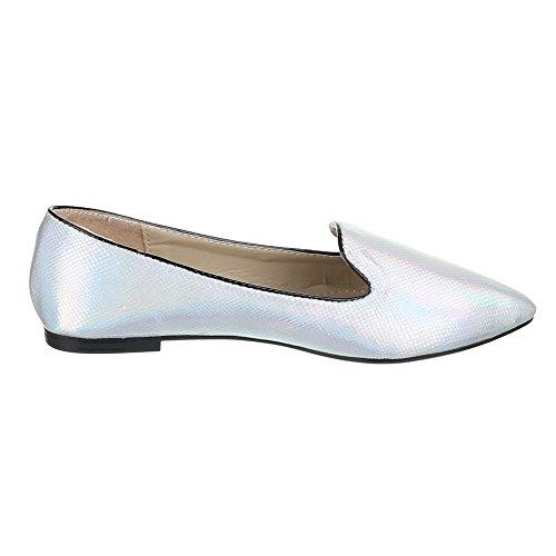 Damen Schuhe, FC15-T01, Halbschuhe MODERNE SLIPPER Silber