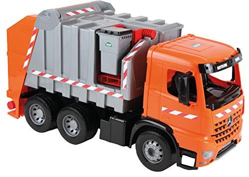 Lena 02168 - Starke Riesen Müllwagen Mercedes Benz Arocs, orange / silber, ca. 74 cm, Müllfahrzeug mit 3 Achsen, großes Spielfahrzeug für Kinder ab 3 Jahre, robustes Müllauto mit Funktion und Zubehör - Müllabfuhr