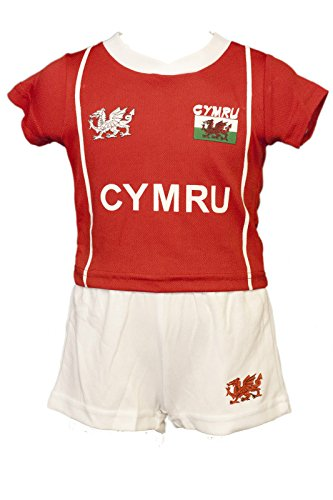 [6-12 Months, Red and White] WELSH CYMRU BABY KIDS 'BRYN' COOLDRY WALES RUGBY FOOTBALL KIT RED & WHITE