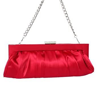 Women's Fashion Classic Frill Clutch Evening Party Bridal Chain Wristlet Bag-Red