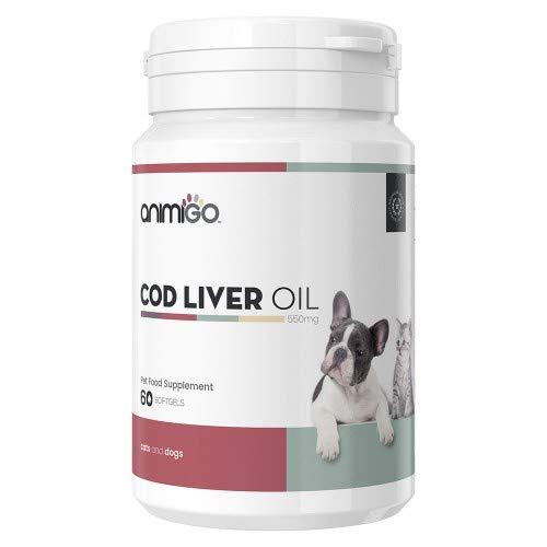 Animigo Dorschlebertran 550mg 60 Softgels zur Pflege von Knochen & Gelenken Ihrer Hunde und Katze