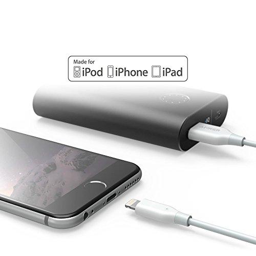Anker Powerline 0,3m Lightning Kabel Apple iPhone iPad Ladekabel [Apple MFi Zertifiziert] für iPhone X/ 8/8 Plus/ 7/7 Plus/ 6s/ 6/6 Plus/ 5S/ 5/ iPad und weitere (Weiß)