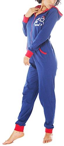 Jumpsuit avec zipper et capuche et manches longues pour femme Bleu
