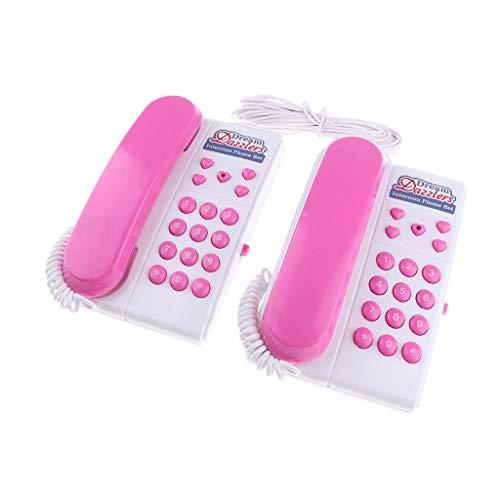 FLAMEER 2pcs Kindertelefon mit 7m Telefondraht für Spielturm Spielhaus - Rosa