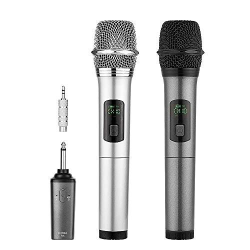 Kabelloses Mikrofon, ARCHEER Dual bluetooth Wireless Mikrofon Dynamische Mikrofon bluetooth Funkmikrofon Karaoke Mikrofon Weihnachtsgeschenk (Mit Aufladbarem Empfänger & 3.5mm Adapter, 50m Reichweite)