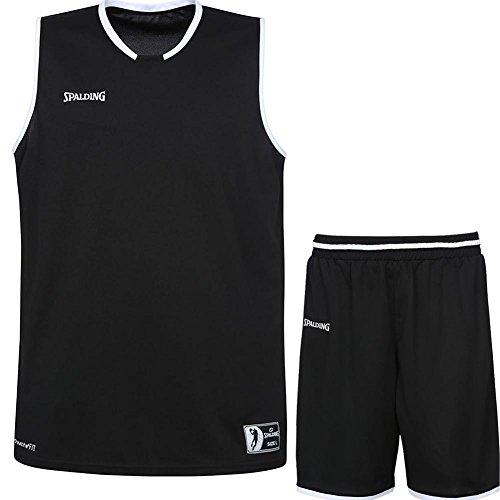 Spalding Basketball Kombi Trikot Set Move Trikot + Shorts für Kinder und Erwachsende (schwarz/weiß, S)