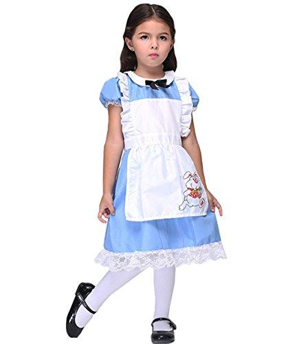 Kostüm Mädchen Kleid Halloween Cosplay Party (Höhe 130cm-135cm(Etikett XL), blau) (Niedliche Alice Im Wunderland Kostüm)
