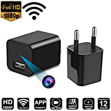 RFV1(tm) 1920P x 1080P HD USB Wall Charger WiFi Hidden Spy Camera for Security Surveillance (Black)