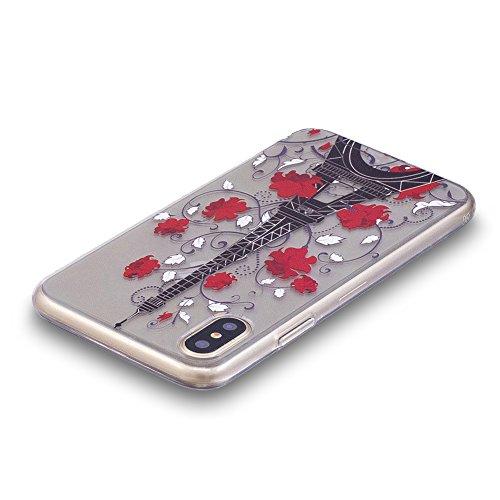 Slynmax Colorato Stampato Cover per iPhone X Custodia Silicone Caso Molle di Morbida Sottile TPU Gel Transparent Bumper Case Protettiva Caso Chiaro Copertura Slim Thin Skin Shell Protezione per iPhone Modello #12