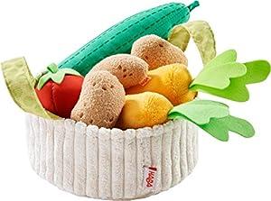 HABA 304230-Cesta de Verduras, Accesorio para Compra de Carga y niños con Cesta de Cocina, Pepino, Tomate, Zanahorias y Patatas Juguetes de plástico, a Partir de 3años