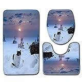 DROHE-Q Modernes Einfaches 3-teiliges Toiletten-Set, Schnee-reizende Katzen-Sonnenuntergang-Badezimmer-Schlafzimmer-Boden-Matte Haupt Dekoration -45 * 75cm