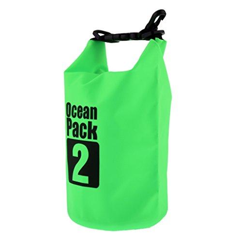 NON Sharplace Bolsas Estancas de 2L Bolsa Seca Para Viajar y Deportes al Aire Libre de Navegación Kayak Canotaje Camping - Verde