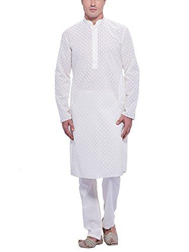 Manyavar Men's Cotton Kurta Pyjama (8903035062819_M315009-101-M_White)