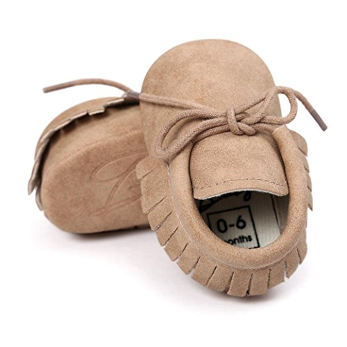 Saingace Krabbelschuhe,Baby-Krippe-Troddel-Verband-weiche Sole-Schuh-Kleinkind-Turnschuhe beiläufige Schuhe Khaki