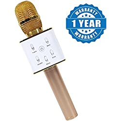 Captcha Karaoke Q7 Microphone Wireless, Portable Handheld Singing Machine Condenser Microphones Mic And Speaker