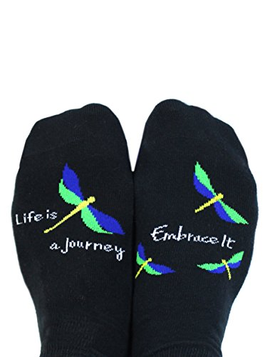 Toe Talk LIFE IS A JOURNEY EMBRACE IT Non Slip Grip Socks, Fits Women Sizes 5-9, Ideal For Pilates Barre Yoga Dance Tai Chi & Meditation