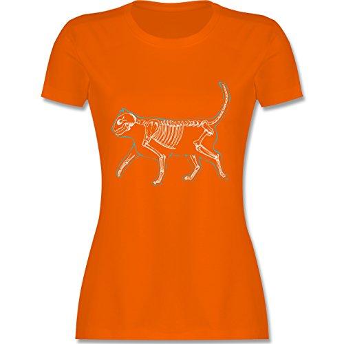 Katzen - spooky cat - tailliertes Premium T-Shirt mit Rundhalsausschnitt für Damen Orange