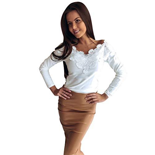 Btruely T-Shirt Damen V-Ausschnitt Tops Spitze Pullover Slim Fit Langarmshirt Bluse Hohl Langarm Shirt