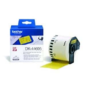 Brother DK-44605 Label Roll, Removable Continuous Length Paper, Black on Yellow, 62 mm (W) x 30.48 m (L), Brother Genuine Supplies