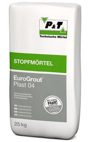 EuroGrout Plast 04 Unterstopfmoertel 0-4mm 25kg - kraftschlüssiges Vermörteln und Unterstopfen von Stahleinbauten in Beton