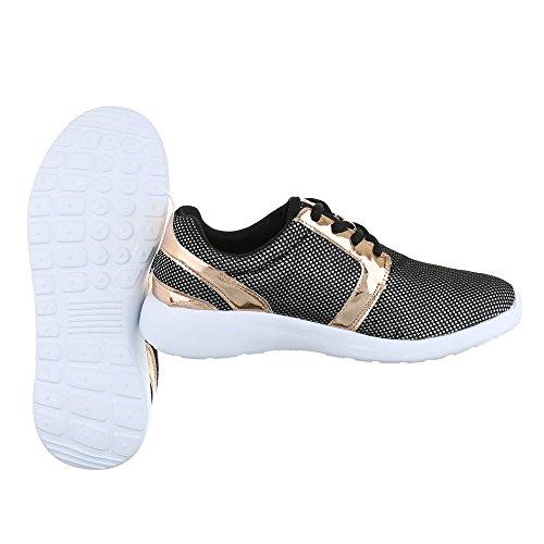 Sneaker Ital-design Sneaker Basse Da Donna Sneakers Basse Con Lacci Per Il Tempo Libero Nero 6230-y
