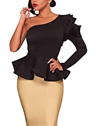 Camisas Mujer Elegantes Un Hombro Manga Larga Hombro Inclinado Volantes Slim Fit Irregular Asimetricas Classic Chic