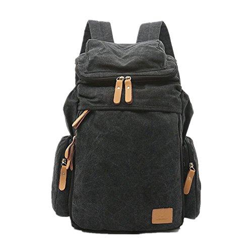 lazutom leichter Casual Leinwand Rucksack Tagesrucksack Travel Rucksack Schultasche Wandern Tasche khaki - schwarz