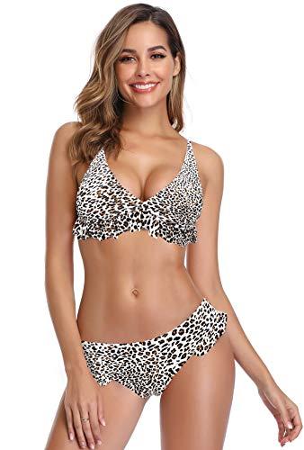 SHEKINI Damen Brazilian Bikini Set Push Up Tief V-Ausschinitt Volant Triangle Oberteil Rüsche Bikinihose mit Niedrige Taille Grosse Grössen Schwarz Bademode (Small, Leopard Druck) (Leopard Push-up-bikini-oberteil)