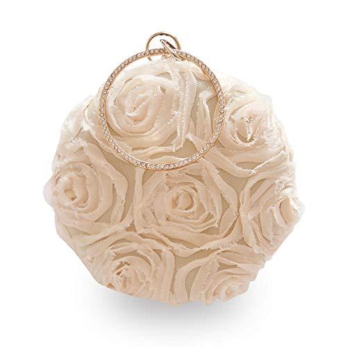 LCHENGJIN Damen Blume Plissee Band Armband Mini Dinner Bag Handtasche Schulter Runde Kette Blume Frauenkupplung Beige -