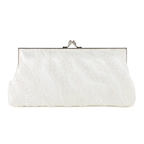 Satin Beaded Frame Bag Argento (Avorio)