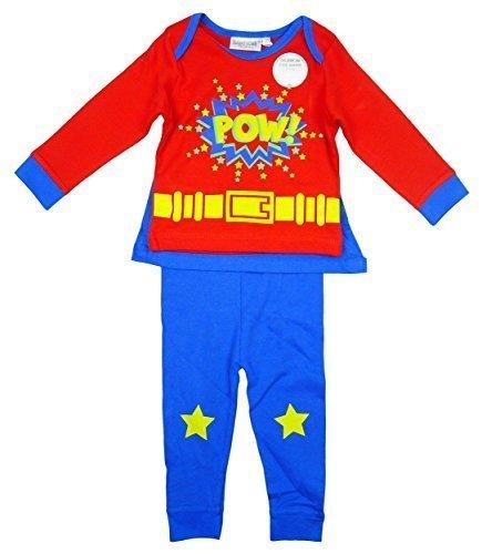 Jungen Baby Kleinkind Superheld VOLL Kostüm Schlafanzug mit Kappe größen von 6 bis 24 Monate - Blau, 6 - 9 Months